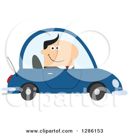 Clipart of a Modern Flat Design of a Happy White Businessman Commuting and Driving to Work in a Blue Car - Royalty Free Vector Illustration by Hit Toon