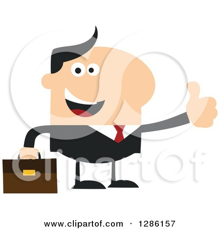 Clipart of a Modern Flat Design of a Happy White Businessman Holding a Thumb up - Royalty Free Vector Illustration by Hit Toon