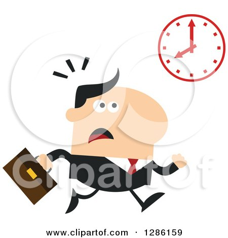 Clipart of a Modern Flat Design of a White Businessman Running Late and Glancing at a Clock - Royalty Free Vector Illustration by Hit Toon