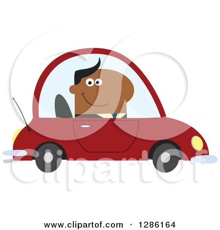 Clipart of a Modern Flat Design of a Happy Black Businessman Commuting and Driving to Work in a Red Car - Royalty Free Vector Illustration by Hit Toon