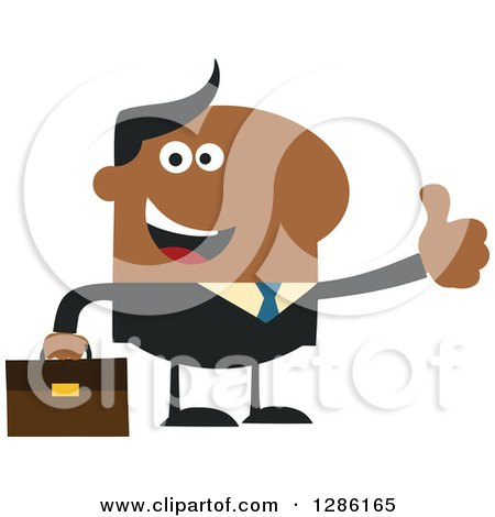 Clipart of a Modern Flat Design of a Happy Black Businessman Holding a Thumb up - Royalty Free Vector Illustration by Hit Toon