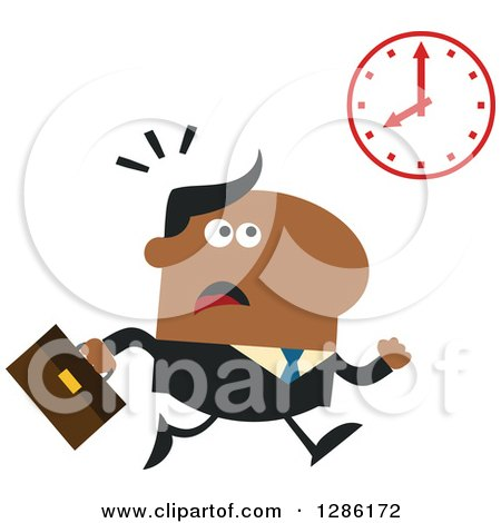 Clipart of a Modern Flat Design of a Black Businessman Running Late and Glancing at a Clock - Royalty Free Vector Illustration by Hit Toon
