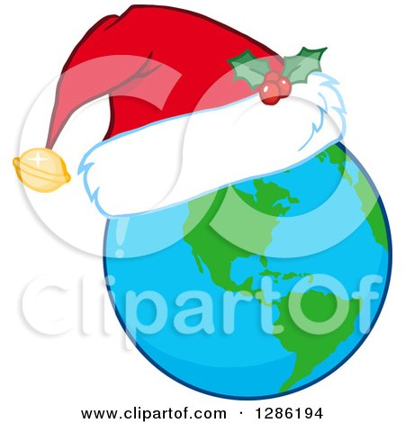 Clipart of an Earth Globe Wearing a Christmas Santa Hat - Royalty Free Vector Illustration by Hit Toon