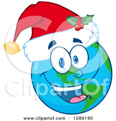 Clipart of a Happy Smiling Earth Globe Character Wearing a Christmas Santa Hat - Royalty Free Vector Illustration by Hit Toon