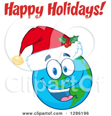 Smiling Earth Globe Character Wearing a Christmas Santa Hat Under Happy Holidays Text Posters, Art Prints