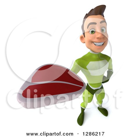 Clipart of a 3d Young Brunette White Male Super Hero in a Green Suit, Holding up a Beef Steak - Royalty Free Illustration by Julos