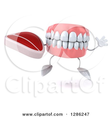 Clipart of a 3d Mouth Teeth Mascot Holding a Beef Steak and Jumping - Royalty Free Illustration by Julos