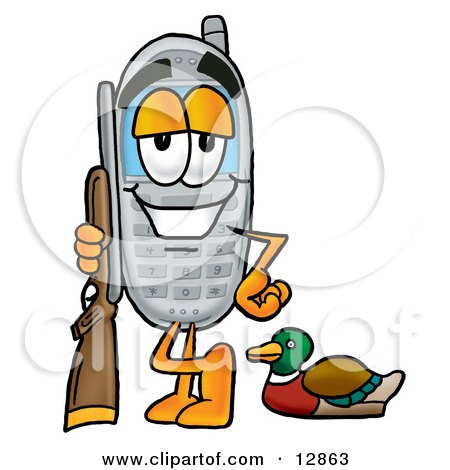 Clipart Picture of a Wireless Cellular Telephone Mascot Cartoon Character Duck Hunting, Standing With a Rifle and Duck by Toons4Biz