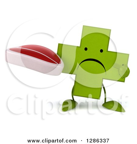 Clipart of a 3d Unhappy Green Holistic Cross Character Holding and Pointing to a Beef Steak - Royalty Free Illustration by Julos