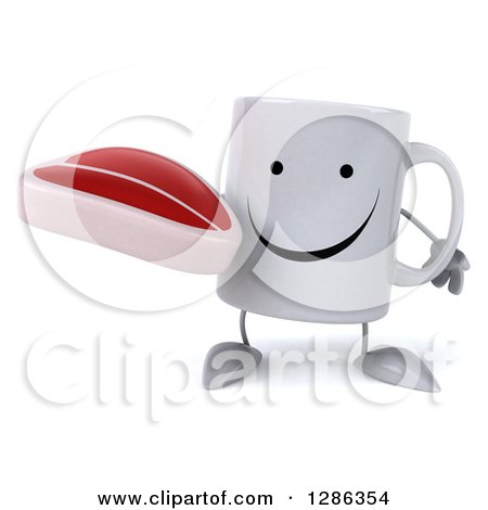 Clipart of a 3d Happy Coffee Mug Holding a Beef Steak - Royalty Free Illustration by Julos