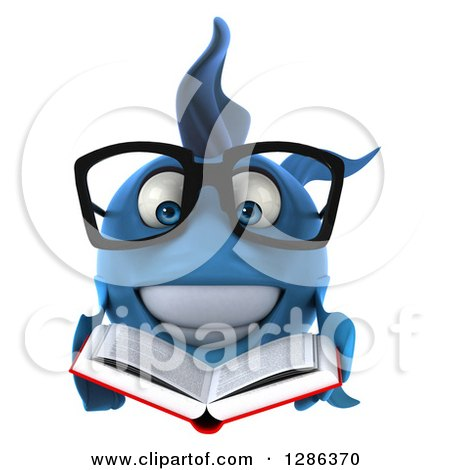 Clipart of a 3d Bespectacled Blue Fish Reading a Book - Royalty Free Illustration by Julos
