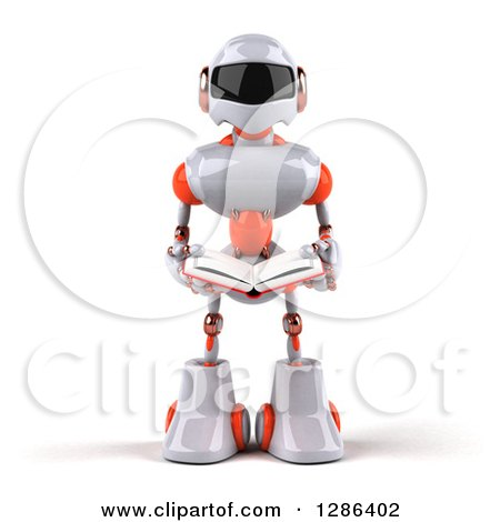 Clipart of a 3d White and Orange Robot Reading a Book - Royalty Free Illustration by Julos