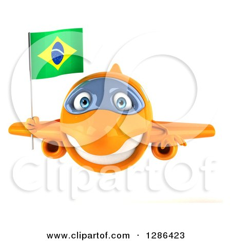 Clipart of a 3d Happy Orange Airplane Holding a Brazilian Flag - Royalty Free Illustration by Julos