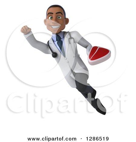 Clipart of a 3d Young Black Male Doctor Flying with a Beef Steak - Royalty Free Illustration by Julos