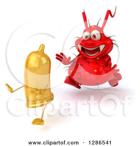 Clipart of a 3d Red Germ Virus Chasing a Yellow Condom - Royalty Free Illustration by Julos
