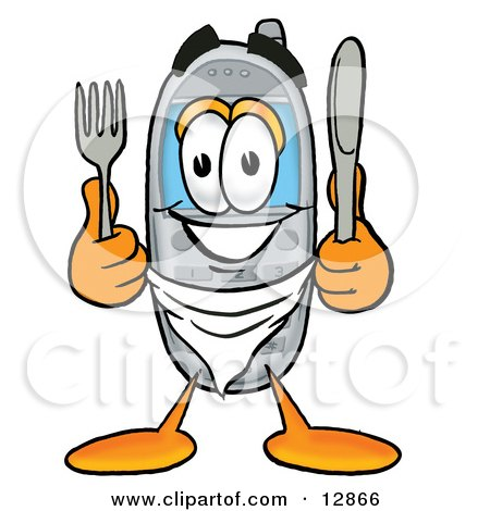 Clipart Picture of a Wireless Cellular Telephone Mascot Cartoon Character Holding a Knife and Fork by Toons4Biz