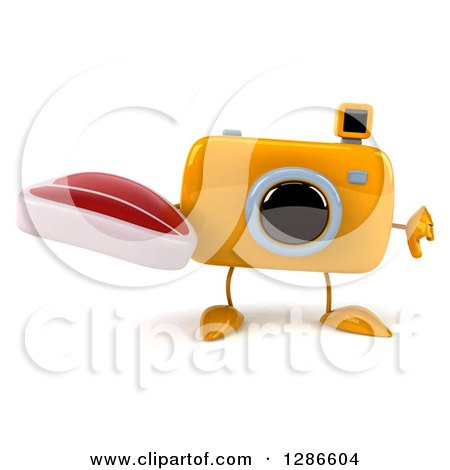 Clipart of a 3d Yellow Camera Character Holding a Thumb down and a Steak - Royalty Free Illustration by Julos