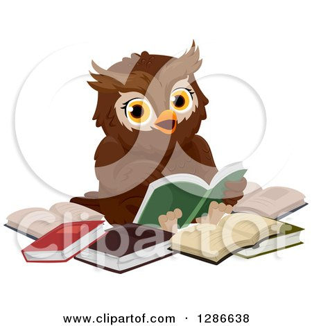 Clipart of a Brown Owl Sitting in a Circle of Books and Reading - Royalty Free Vector Illustration by BNP Design Studio