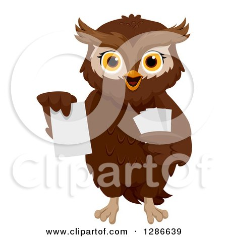 Clipart of a Brown Owl Holding up a Flash Card - Royalty Free Vector Illustration by BNP Design Studio