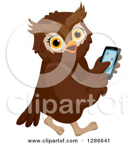 Clipart of a Brown Owl Walking and Using a Smart Cell Phone - Royalty Free Vector Illustration by BNP Design Studio