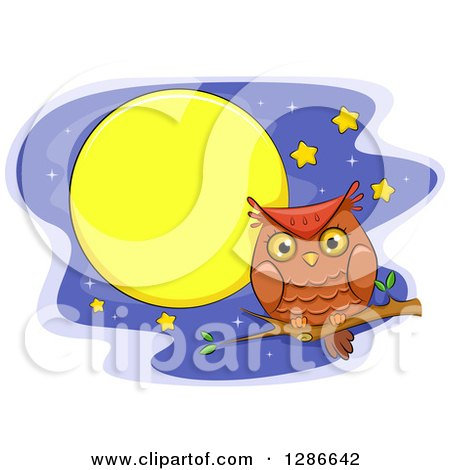 Clipart of a Perched Brown Owl over a Night Sky with Stars and a Full Moon - Royalty Free Vector Illustration by BNP Design Studio