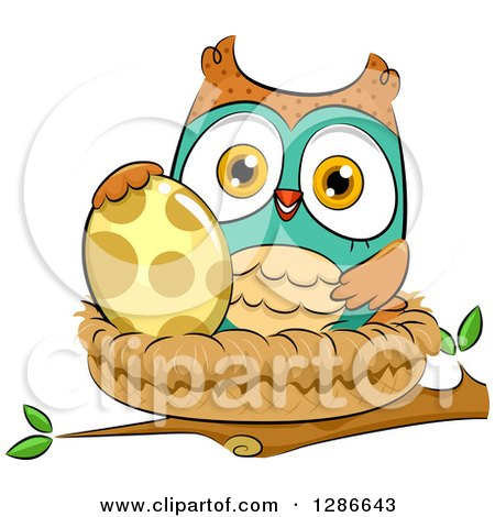 Clipart of a Brown and Turquoise Owl with an Egg in a Nest - Royalty Free Vector Illustration by BNP Design Studio