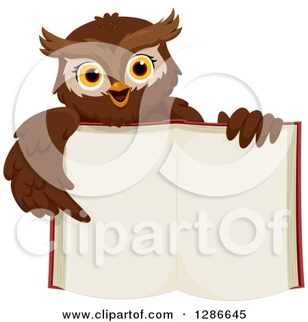 Clipart of a Brown Owl Holding up an Open Book and Pointing to Its Blank Pages - Royalty Free Vector Illustration by BNP Design Studio
