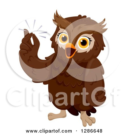Clipart of a Smart Brown Owl Snapping His Fingers with an Idea - Royalty Free Vector Illustration by BNP Design Studio