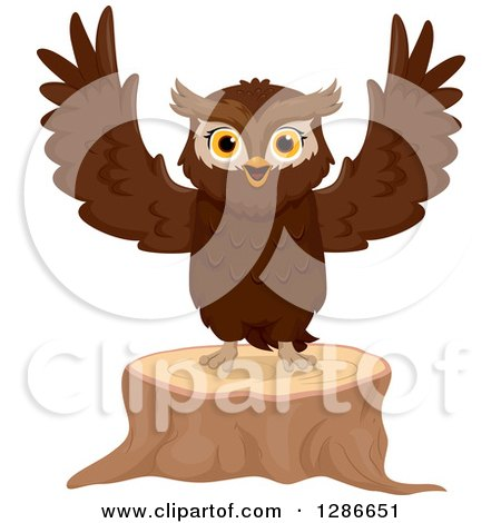 Clipart of a Brown Owl Welcoming and Standing on a Tree Stump - Royalty Free Vector Illustration by BNP Design Studio
