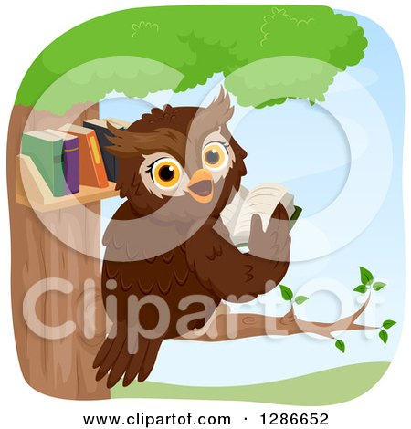 Clipart of a Happy Brown Owl Looking Back and Reading in a Tree Library - Royalty Free Vector Illustration by BNP Design Studio