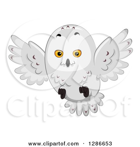 Clipart of a Snowy Owl Flying - Royalty Free Vector Illustration by BNP Design Studio