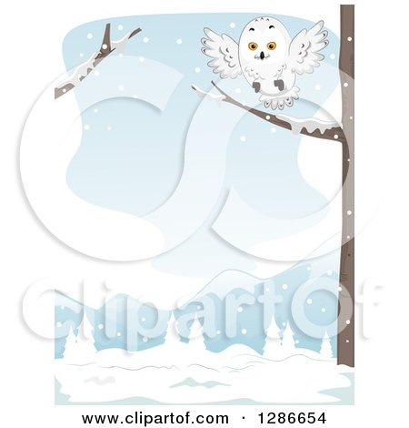 Clipart of a Snowy Owl Landing on a Tree Branch in a Winter Landscape - Royalty Free Vector Illustration by BNP Design Studio
