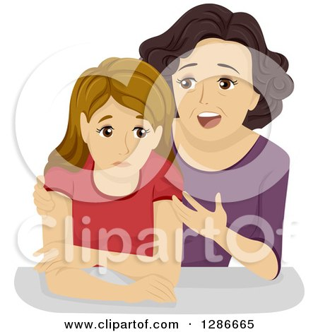 Clipart of a Caring Mother Trying to Give Her Teenage Daughter Advice - Royalty Free Vector Illustration by BNP Design Studio