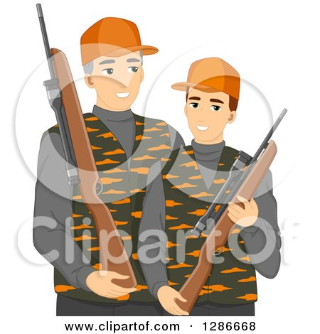 Clipart of a Caucasian Father and Son Hunting Together - Royalty Free Vector Illustration by BNP Design Studio