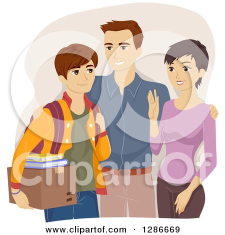 Clipart of Happy Parents Sending Their Son off to College - Royalty Free Vector Illustration by BNP Design Studio