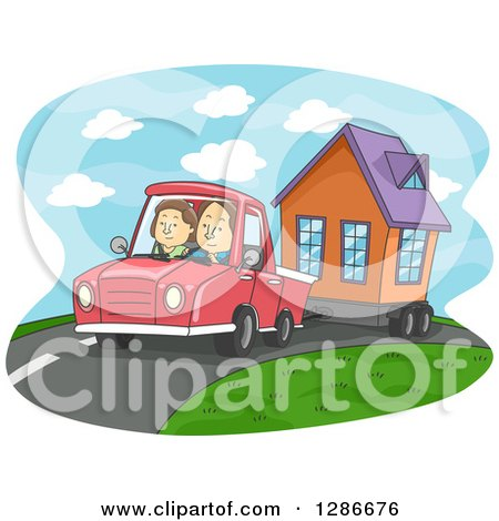 Clipart of a Cartoon Caucasian Couple Driving and Towing a Tiny House - Royalty Free Vector Illustration by BNP Design Studio