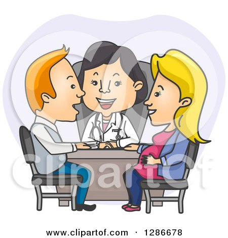 Clipart of a Happy Female Asian Ob Gyne Doctor and Caucasian Parents in a Meeting - Royalty Free Vector Illustration by BNP Design Studio