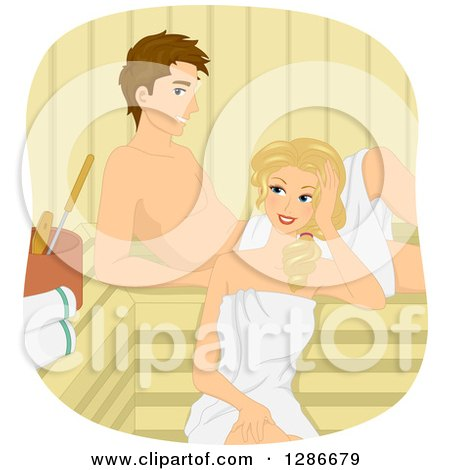 Clipart of a Happy Brunette White Man and Blond Woman Relaxing in a Sauna - Royalty Free Vector Illustration by BNP Design Studio