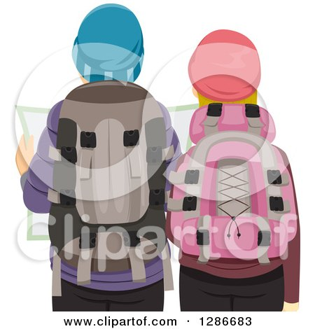 Clipart of a Rear View of a Caucasian Hiking Couple Viewing a Map - Royalty Free Vector Illustration by BNP Design Studio