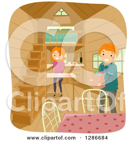 Clipart of a Happy Red Haired Caucasian Stick Couple Unloading Groceries in Their Tiny House - Royalty Free Vector Illustration by BNP Design Studio