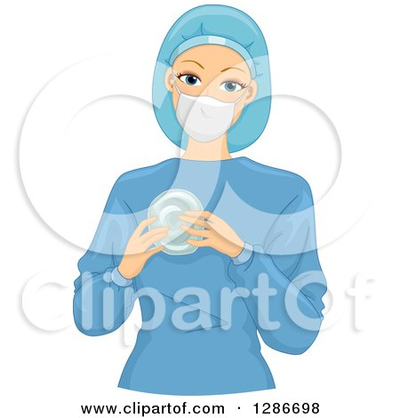 Clipart of a Happy Young White Female Doctor Plastic Surgeon in Scrubs, Holding a Silicon Breast Implate - Royalty Free Vector Illustration by BNP Design Studio