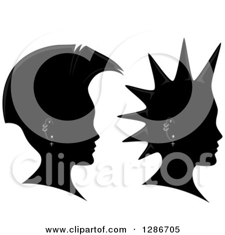 Clipart of Grayscale Profiled Heads with Mohawks and Piercings - Royalty Free Vector Illustration by BNP Design Studio