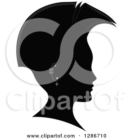 Clipart of a Grayscale Profiled Man's Head with a Mohawk and Piercings - Royalty Free Vector Illustration by BNP Design Studio