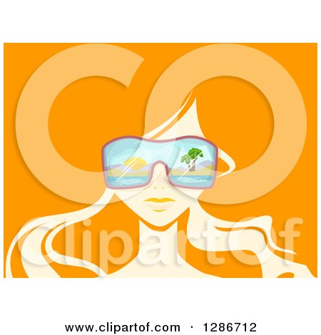 Clipart of a Woman's Face with Beach Sunglasses and Long Hair on Orange - Royalty Free Vector Illustration by BNP Design Studio