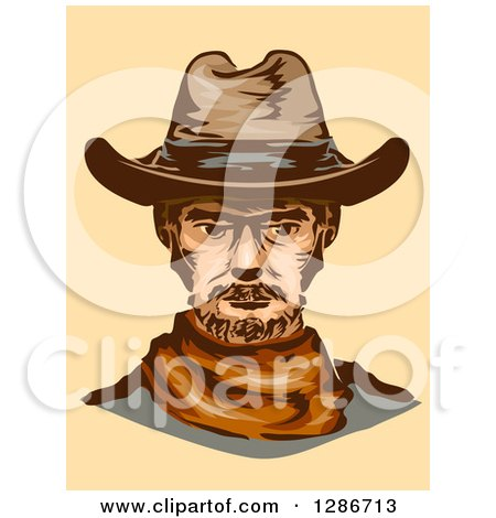 Clipart of a Portrait of a Middle Aged Cowboy on Pastel Orange - Royalty Free Vector Illustration by BNP Design Studio