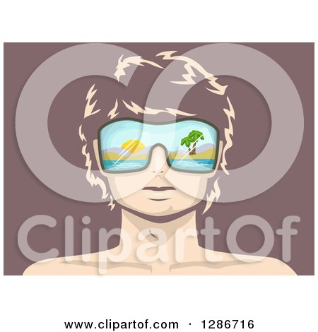 Clipart of a Man's Face with Beach Sunglasses over Mauve - Royalty Free Vector Illustration by BNP Design Studio