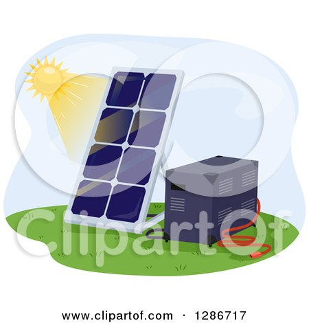 Clipart of a Sun Shining on a Solar Panel and Battery - Royalty Free Vector Illustration by BNP Design Studio