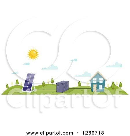 Clipart of a Sun Shining over a Solar Panel, Battery and House - Royalty Free Vector Illustration by BNP Design Studio