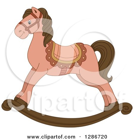 Clipart of a Pink and Brown Rocking Horse - Royalty Free Vector Illustration by BNP Design Studio
