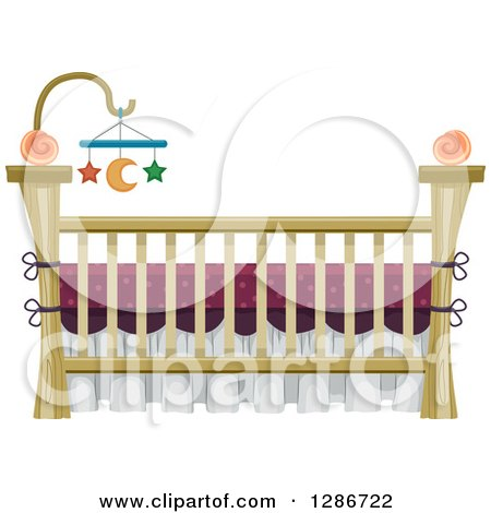 Clipart of a Baby Crib with a Star and Moon Mobile - Royalty Free Vector Illustration by BNP Design Studio